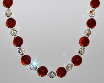 SALE - 24K Gold Infused and Crimson Murano Glass and Crystal Necklace