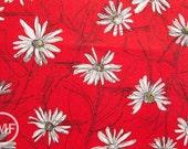 Suzuko Koseki Small Marguerite Daisy in Red, Yuwa Fabric, SZ826012A, 100% Cotton Japanese Fabric
