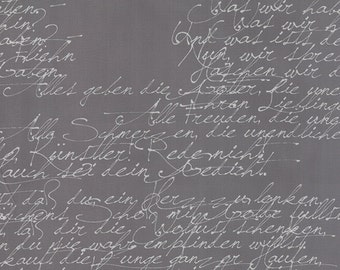 Modern Background Ink Handwriting in Graphite, Brigitte Heitland, Zen Chic, Moda Fabrics, 100% Cotton Fabric, 1580 28