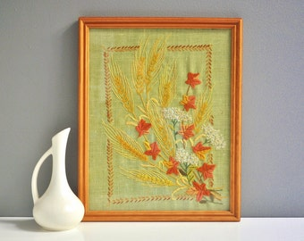 Vintage Framed Needlepoint Wall Hanging - Wheat Stalks and Leaves