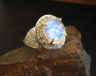 Moon Dazzle - Genuine Rainbow Moonstone & White Sapphire Ring - Alternative Halo Engagement Ring - Sterling Silver Ring - OOAK One Of A Kind