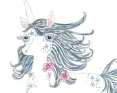 Illustration - Pen and Watercolour,  Unicorn - Limited Edition Print by Jennie Deane