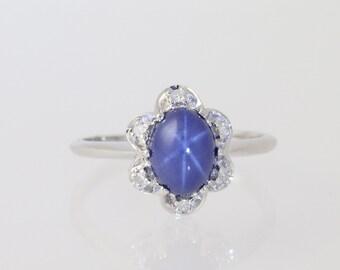 Syn Star Sapphire Flower Ring - Diamond Halo 14k White Gold Women's 1.56ctw N1434