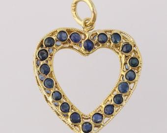 Sapphire Heart Pendant - 18k Yellow Gold Women's Round Blue Sapphires 1.50ctw q1580