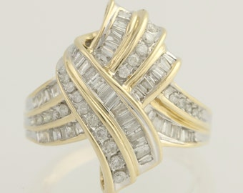 Diamond Crossover Cocktail Ring - 14k Yellow & White Gold 7 1/4 Genuine 1.00ctw l4973
