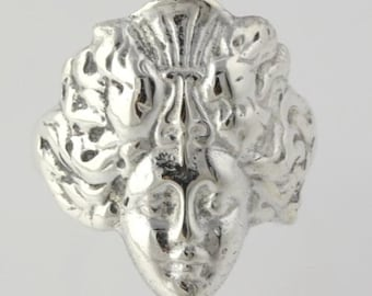 Figural Bust Ring - Sterling Silver 925 Size 7.25 Sculpture Chunky Fashion h551