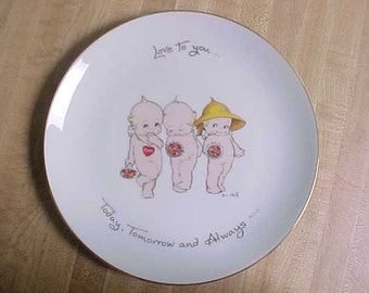 Vintage Kewpie Collectible Plate Love to You Today Tomorrow and Always, 1970s Rose O'Neill Kewpie Doll Collector Plates w/ Gold Trim