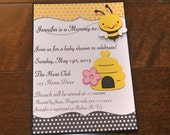 Mommy to bee, bee baby shower, Personalized 5x7 Invitation -- MADE TO ORDER