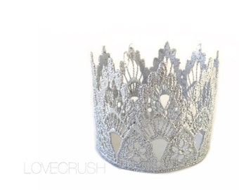 READY TO SHIP ||the Sienna|| silver || lace crown|| headband option|| photography prop || princess ||all ages|| over 15K sold!