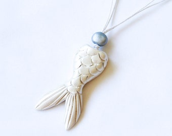 Pearly White Mermaid Tail Necklace