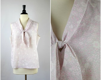 Vintage pink and grey floral tie neck blouse / bow neck tank