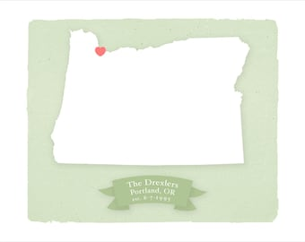 OREGON art print - Personalized Home decor Custom text Wedding gift Bridal shower Housewarming gift  Larger size for wedding guest book
