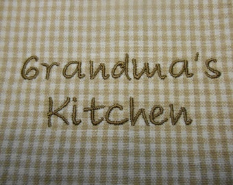 Grandma's Kitchen Towel, Embroidered Towel for Grandma, Beige White Check Towel, Kitchen Embroidery, Gift Idea for Grandma, Kitchen Linens