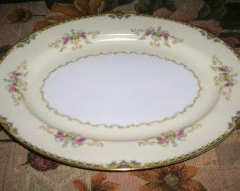 "Vintage Noritake Fine Porcelain China Alford Pattern Oval Serving Platter Circa 1930's ""RARE"""