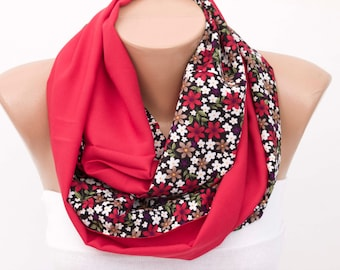 SALE-Infinity scarf ,Loop scarf  ,flowered scarf