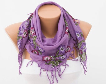 Fringed  scarf ,square tassel scarf , guipure scarf, flowered ,woman scarf,white ,floral,lilacs ,purple