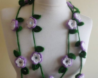 hand crochet floral infinity loop circle scarf necklace lariat valentines gift for her white purple green