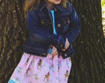 Disney inspired  Bambi and Woodland Friends  Skirt (18 mos, 24 mos,  2T, 3T, 4T, 5 ,6, 7)