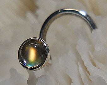 GOLD MOONSTONE, 3mm, nose jewelry, nose stud, goddess jewelry, nose screw, wicca, wiccan, fine silver, sterling, argentium, ready to ship