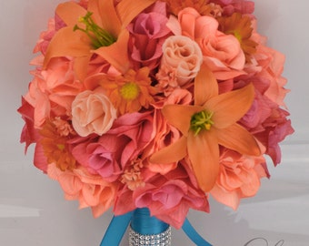 """17 Piece Package Silk Flowers Wedding Bridal Party Bouquets Silk Flowers Decoration Orange CORAL PEACH TURQUOISE """"Lily of Angeles"""" COFU01"""
