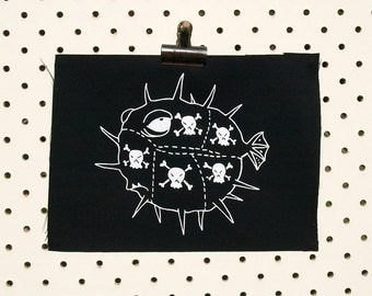 Poison Fugu Patch screen printed black canvas The Simpsons