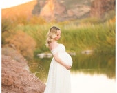 Theresa ivory drop sleeves lace maternity gown with lining,bridal gown,wedding gown,modeling,senior prop