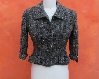 Vintage 1940s 1950s women's Black White Tweed Fitted Coat Jacket Blazer. I. Magnin & Co. WWII