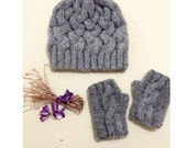 Autumn fashion./ Hand Knit Beanie  / Hat and gloves set : Gray color. Special set. Gift guide