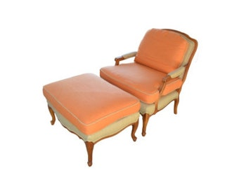 Louis XV style armchair and ottoman