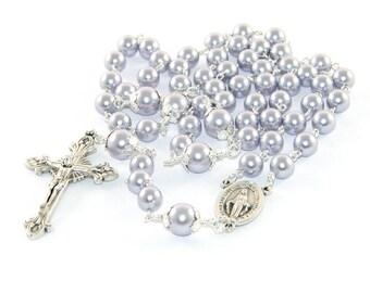 Catholic Woman's Rosary, Lavender Swarovski® Pearls & Miraculous Medal Center