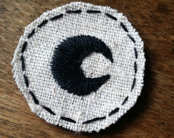 Black Crescent Moon Mini Patch, Embroidered Moon Patch, Moon Baby, Hand Embroidered Patch
