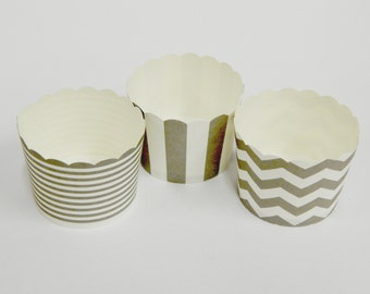 Cupcake Baking Cups, 20 Gray Baking Cups, Candy / Nut Cup, Baking Cups, Ring Stripe, Vertical Stripe, Chevron, Muffin Liners, Cupcake