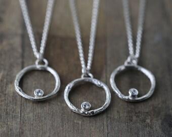 Silver Branch Eternity Circle Cz Necklace / Woodland Wedding Jewelery