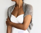 Winter Wedding Bolero, Bridal Shrug, Metallic Gray Bridal Cape Cover-up, Warm Hand Knitted Cape