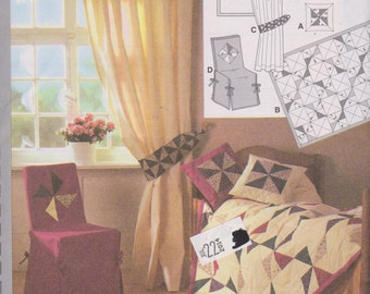 1990's Craft Sewing Pattern Burda 3358 Patchwork Quilt Pillows Curtains Chair Slipcover Home Decor - UNCUT