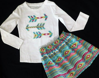 2 piece outfit - Girl, baby, toddler, tween shirt with aztec arrows applique, striped maroon, turquoise, yellow skirt sizes girls NB - 16
