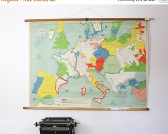 Vintage Map Chart,  Dutch map of Europe Middle Ages