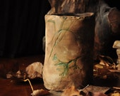 Rustic Twitch Grass Vase or Holder- Earthy Home Decor - Green and Beige/Brown - Hand Formed Pit-fired