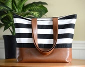 Large Tote Bag, Brown Leather Tote Bag, Striped Diaper Bag, Teacher Tote, Vegan Leather, Women's gift