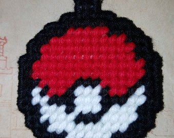 Pokemon Pokeball keychain, zipper pull, backpack charm, bookbag charm, luggage tag, made from plastic canvas