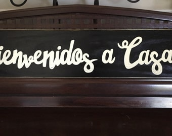 """Bienvenidos a Casa Spanish Country Decor Sign Plaque """"Welcome to our Home"""" Hand Painted Wooden You Pick Color Gallery Wall Art"""