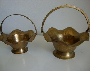 Vintage Brass Baskets with Handles, Pair of Brass Baskets, Candy Tray, Flower Basket, Home Decor, Brass Basket