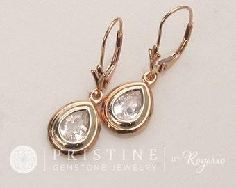 Pear Shape White Sapphire Dangle Earrings in Rose Gold and Yellow Gold Leverback Earrings Gift for Her