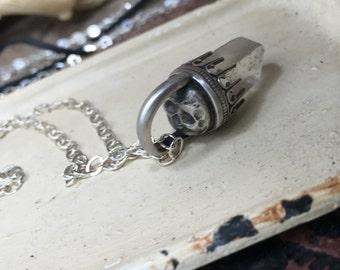 Secret Skull Quartz Point Talisman Pendant Necklace