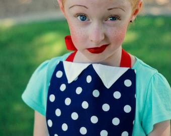 I Love LUCY Retro Vintage inspired Child Costume APRON. Fits Girls size 2-12. Dress up Play Birthday Party Photo Prop Diner Waitress Show