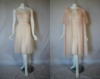 1950s Vanity Fair Pink Peignoir Set, 34, medium, nightgown, robe,  Double Nylon Chiffon