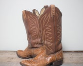 Make An Offer 8 1/2 D | Men's Vintage Snakeskin Cowboy Boots Golden Reptile Country Western Boot