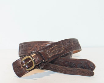 44 | Tooled Brown Leather Belt by Wright