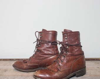 40% Off Sale 5 B | Marbled Brown Justin Roper Lace Up Boots - Well Broken In