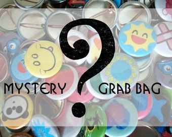 Mystery Grab Bag - 10 Random Pin Back Buttons - Surprise Gift - Badge Collection